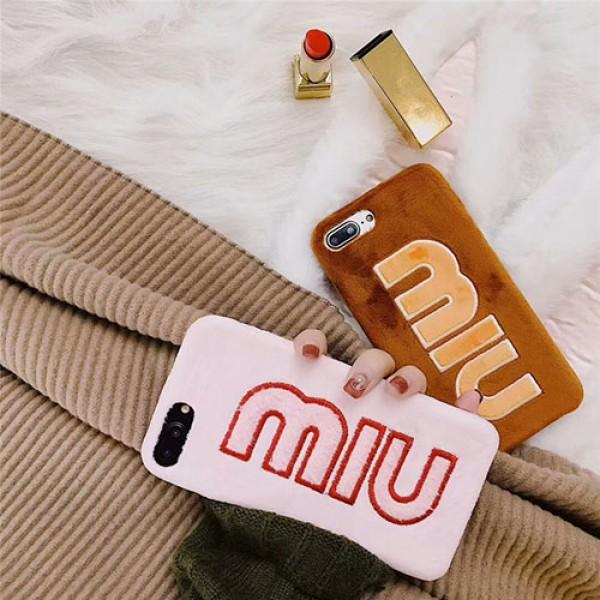 ミュウミュウ ブランド iphone 12/12 pro/12 pro max/11/11 pro/11 pro max/se2ケース フワフワ MiuMiu モノグラム 柔らか綿毛 衝撃保護 MIUMIU アイフォン12mini/x/xs/xr/8/7/6カバー  レディース
