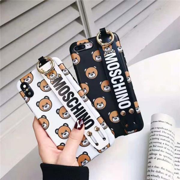 moschino iPhone xr/xs max/xsケース モスキーノ iphone x/8/7/se2 スマホiphone 12 2020ケース ブランド ジャケット 熊絵柄 ハンドベルト付き