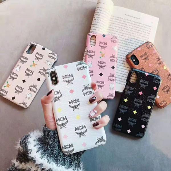 MCM エムシーエム iphone 12 pro maxケース ブランド オシャレロゴ iphone x/xsカバー 可愛いうさぎ付き iphone 12pro/8/7 plusケース ファッションレザー製ジャケット