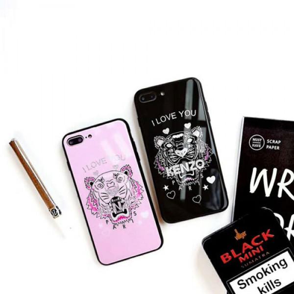ケンゾー KENZO iphone xr/xs maxケース ブランド虎頭 iphone x/テンエスケース キラキラおしゃれガラス表面 アイフォンse2/8/7 plusケース カッコイイファッションペア