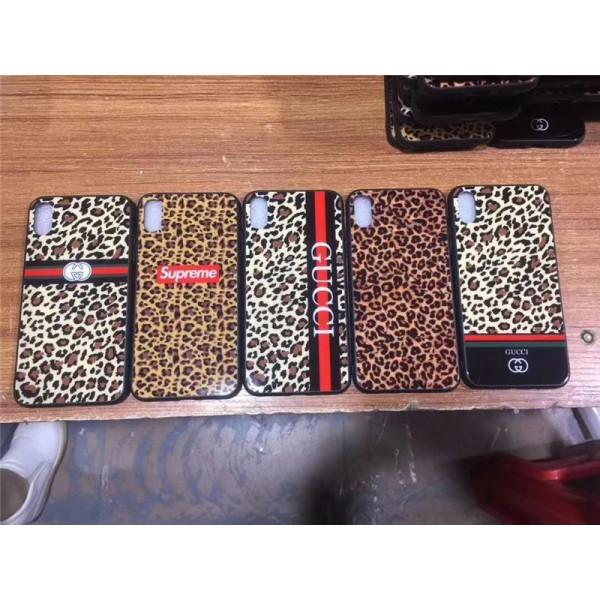 supreme gucci  iphone xr/xs maxケース豹紋付き シュプリームiphone 12 2020カバー セクシーオシャレアイフォン se2/8/7 plusケースガラス表面 高級ファッション