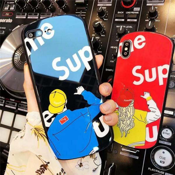 supreme シュプリーム iphone xr/xs maxケース 潮流ガラス表面iphone x/se2/8 plusスマホケース 曲だったiphone 7/6s plusカバーファッションオシャレ