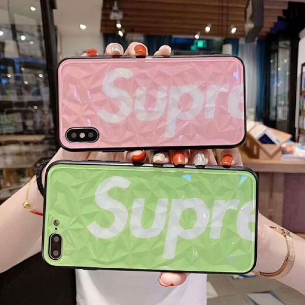 シャネル シュプリーム iphone xr/xs maxケースブランドカップル iphone 10s/xケースダイヤモンド紋 お洒落アイフォン se2/8/7 plusケースファッション透明表面