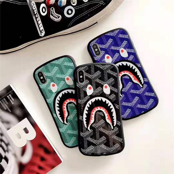 ゴヤール iphone xr/xs maxケース 個性サメ付き goyard iphone XI/11 MAXケース iphone x/8/se2 プラスケース ファッション新品