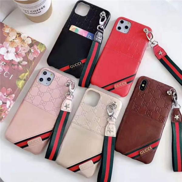 グッチ iphone11/11pro maxケースブランド iphone xr/xs maxケースビジネス風 アイフォンx/8/se2/7 plusケースオシャレ人気 ファッションストラップ付き