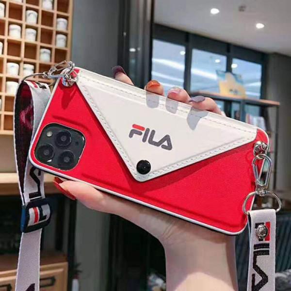 フィラ iphone11/11 pro maxケースブランドFILA iphonexr/xs maxケース潮流 ストラップ付き アイフォン x/se2/ 8/7 plusケース カードポケット付きファッションオシャレ