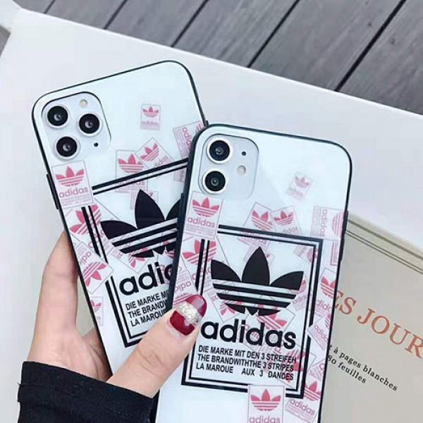 adidas アディダス iphone12/12pro/12pro max/se2ケースブランドアディダス iphone xr/xs/xs max/11proケースお洒落スポーツ風 アイフォン x/8/7 plusケースガラス表面 ファッション