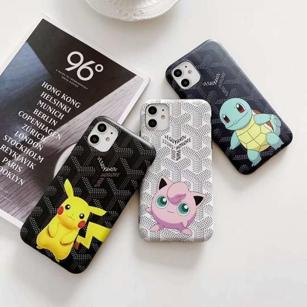 ゴヤール iphone11/11pro max/se2ケース goyard iphone xr/xs maxケース キャラクターポケモン付きアイフォン x/se2/8/7 plusケース ファッション個性 潮流