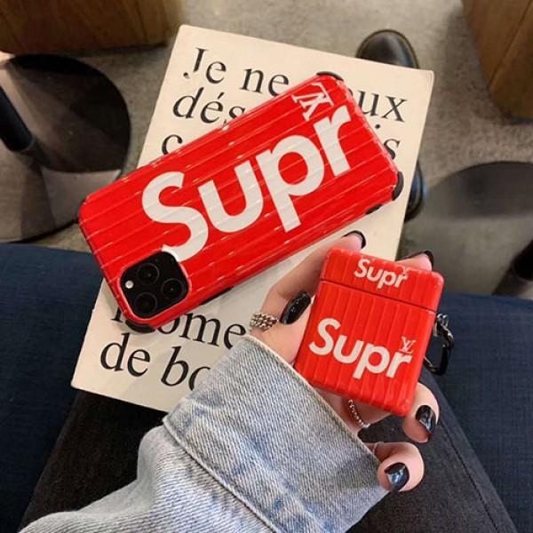 ブランドsupreme+lvコラボエアーポッズ 1/2プロ収納ケース iphone 11/11 pro xs/xr/xs max 8/se2 Air pods proケース保護 防塵アイフォン11/11 proケース保護 軽量 Air pods proケース 防塵 落下防止