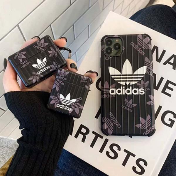 Adidas アディダス iphone 12pro/12 2020 airpods proカバー女性向け7/8plusケースiphone xr/xs max/12proケースブランドAir pods proケース保護 軽量Air pods 3/2/1ケースブランド