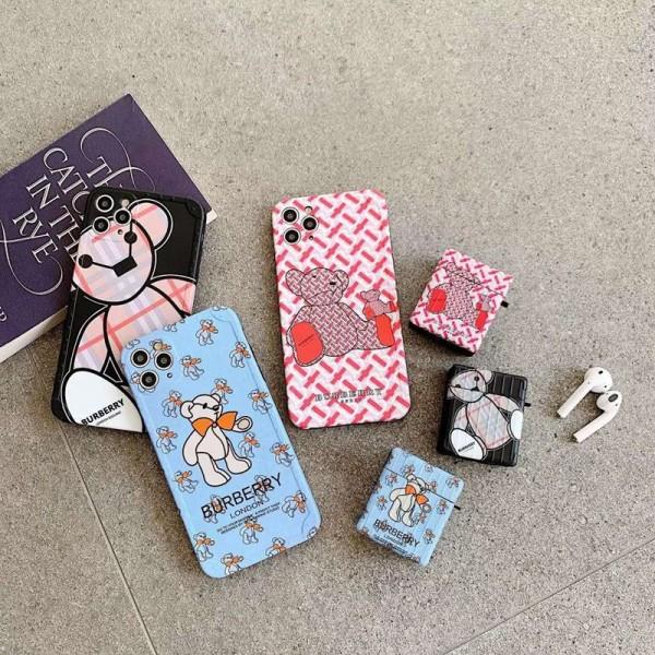 Burberry バーバリー 熊柄可愛いiphone 12 mini/12pro/12promaxスマホケース airpods pro 1/2カバーセットシンプル iPhone 11/x/8/7ケース ジャケットAir pods 3/2/1ケースブランドAir pods proケース 防塵 落下防止