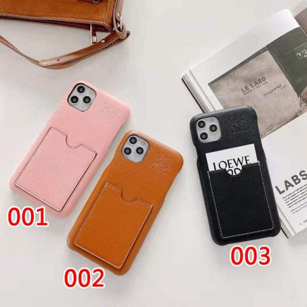 LOEWE ブランド iphone12/12 mini/12 pro/12 pro maxケース ロエベ カード入れ モノグラム 経典 レザー ins風 かわいい アイフォン11/xs/x/8/7 plus/11pro maxケース ファッション 大人気 メンズ レディース