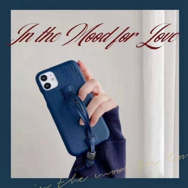 LOEWE ブランド iphone12mini/12pro maxケース かわいい ロエベ レザー ストラップ付き アイフォン12pro/xs/11/8/7ケース おまけつき ジャケット型 2020 高級 大人気 レディース