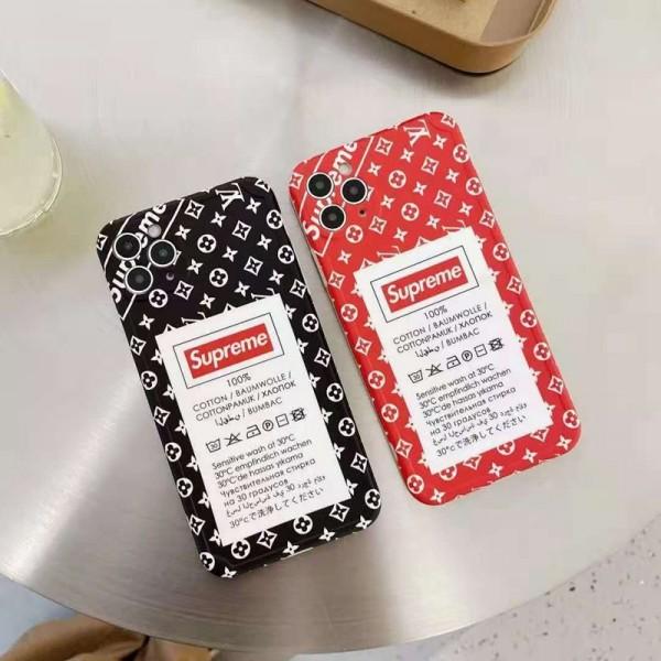 ルイヴィトン シュプリーム コラボ iphone12/12mini/12pro maxスマホケース ブランド タグ柄 モノグラム LV Supreme ジャケット型 iphone11/11 pro max/x/8/7ケース 人気 2020 iphone12 proケース LINE注文可 高級 メンズ レディース