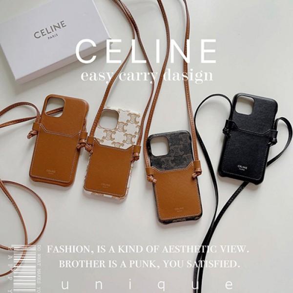 セリーヌ celine iPhone13/13pro/12/12pro maxケース 斜めがけ 背面収納カード入れレディースブラント CELINE iPhone13mini/12Proカバー 女性向け