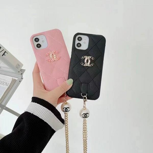 Chanel/シャネルブランド iphone13/13mini/13promaxケースレザー製ジャケット型 アイフォ12/12mini/12Promaxカバー女性向けチエーン付き激安ショルダーIPHONE11/11promax/se2/x/8/7ケース真珠デザイン韓国風ファション大人気