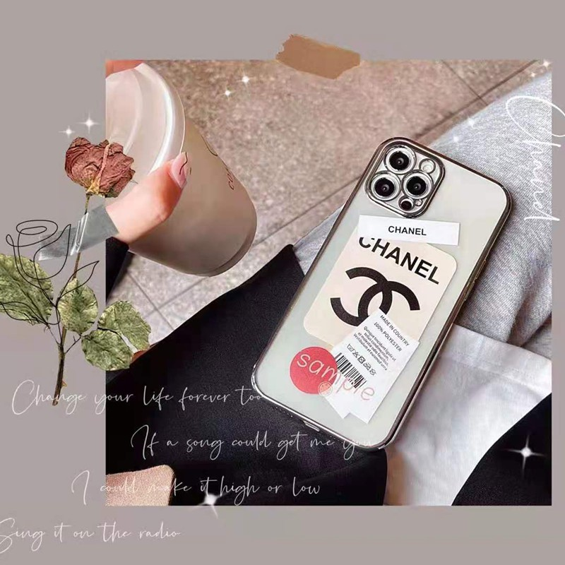 背面ガラス 銀色フレーム Chanel 高級感 カバー アイフォン13/12s/se2スマホケース